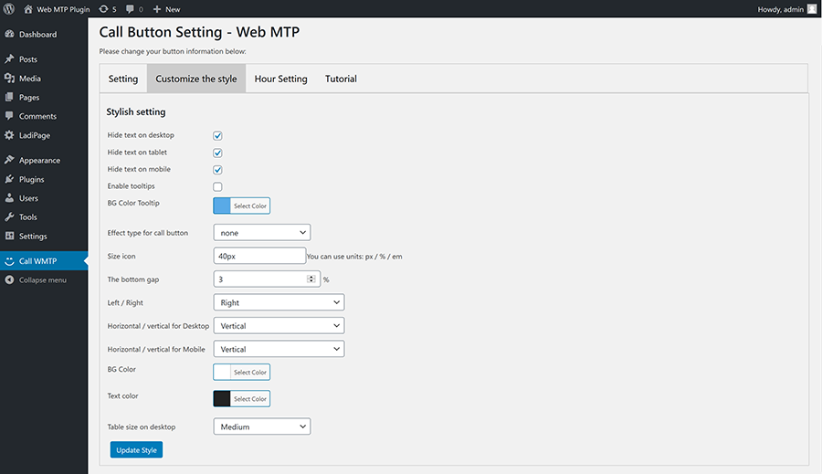 Create custom call and social button for WordPress - 4