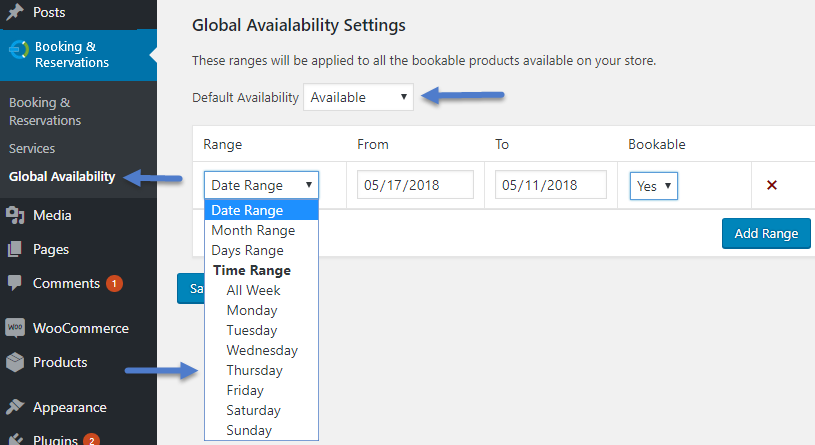 Global bookable options