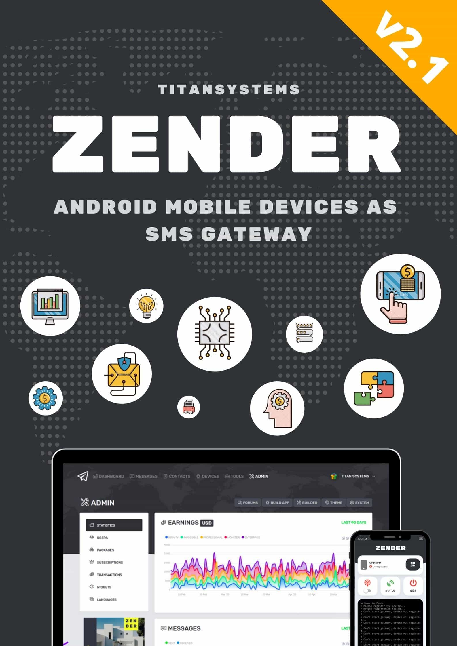 Zender - Android Mobile Devices as SMS Gateway (SaaS Platform) - 4
