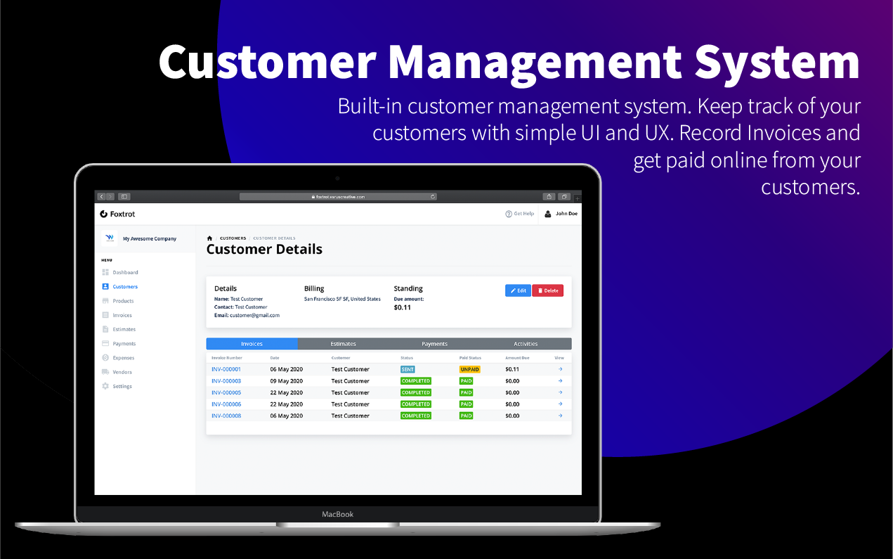 Foxtrot SaaS - Customer, Invoice and Expense Management System - 5
