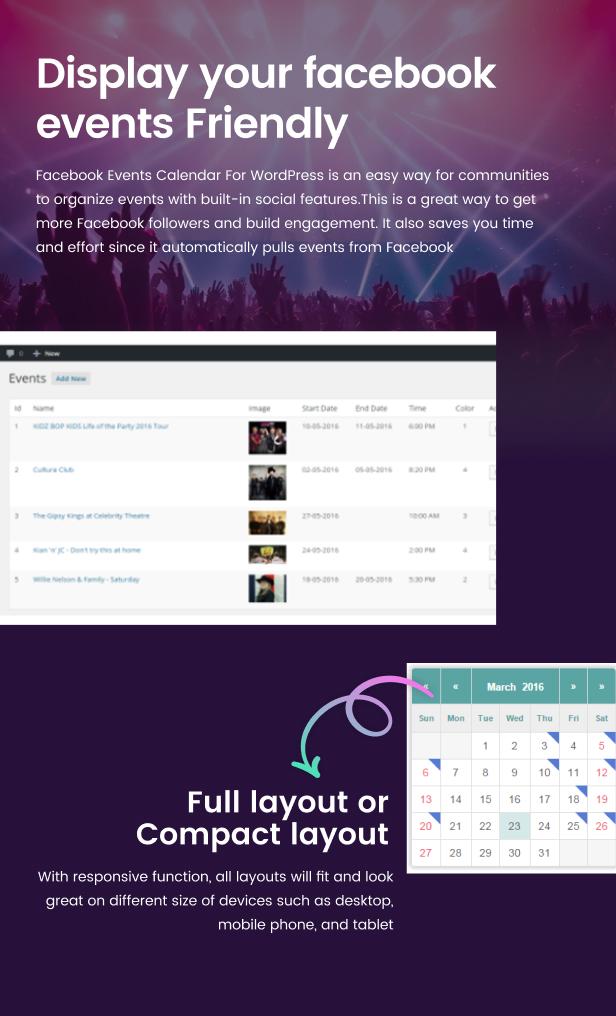 Facebook Events Calendar For WordPress - 9