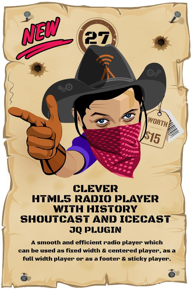 Most Wanted Jquery Plugins Pack - CLEVER - HTML5 Radio Player With History - Shoutcast and Icecast jQuery Plugin