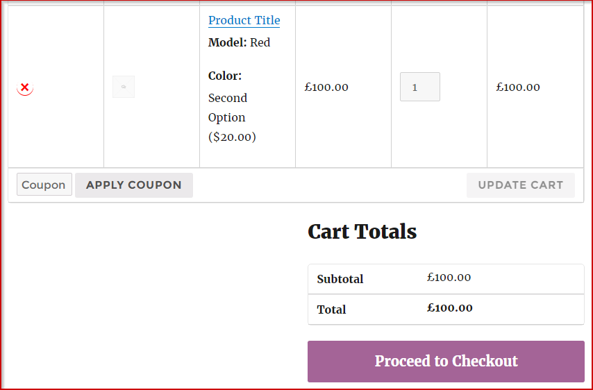 Product with form in the cart