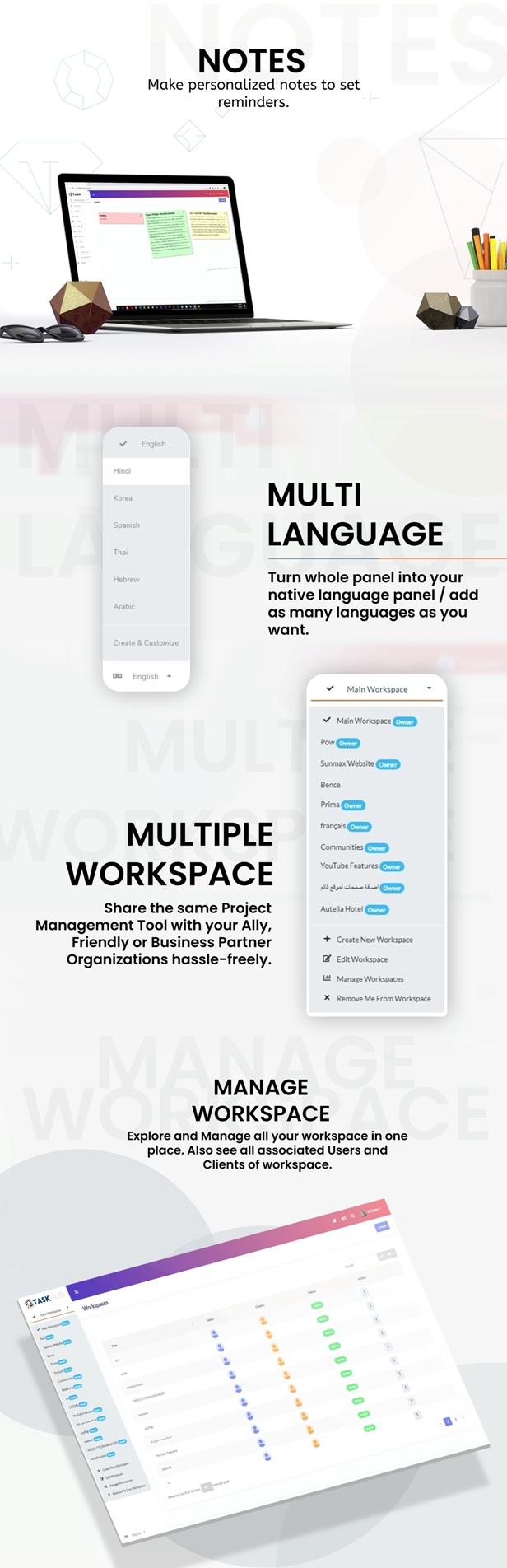 5 - notes-multiple-workspaces-multi-languages - Taskhub SaaS - v1.0