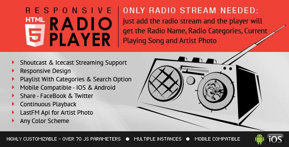 Radio Player With Playlist - Shoutcast and Icecast