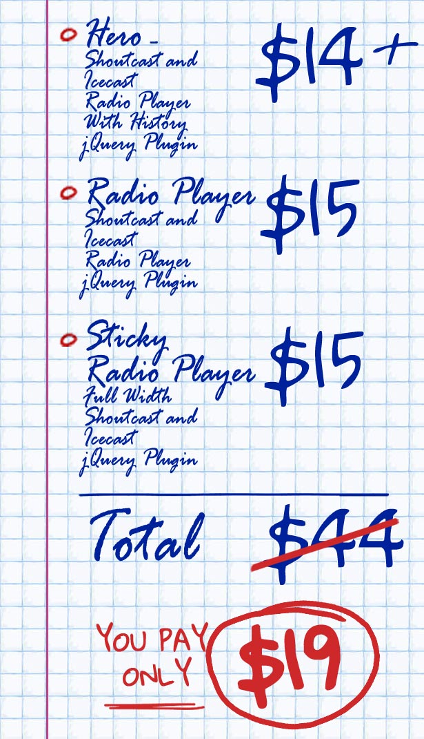 ShoutCast IceCast HTML5 Radio Players Bundle Price List