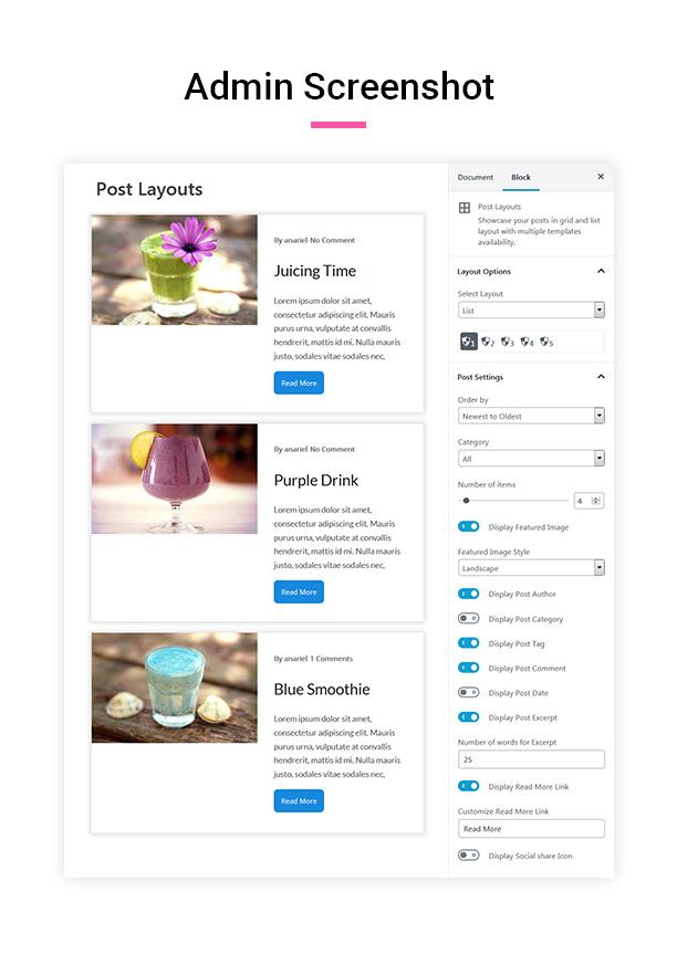 Admin Screenshot - Post Layouts Pro for Gutenberg