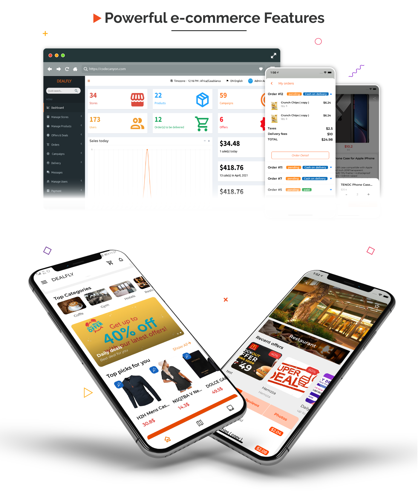 Dealfly - E-commerce & multi-vendors marketplace,Offers, Subscription system - iOS & Android - v2.1 - 2