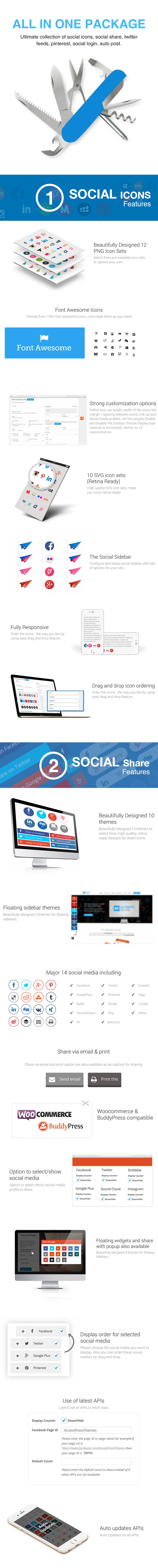WP Ultimate Social - All in One Social Features' Collection WordPress Plugin - 1