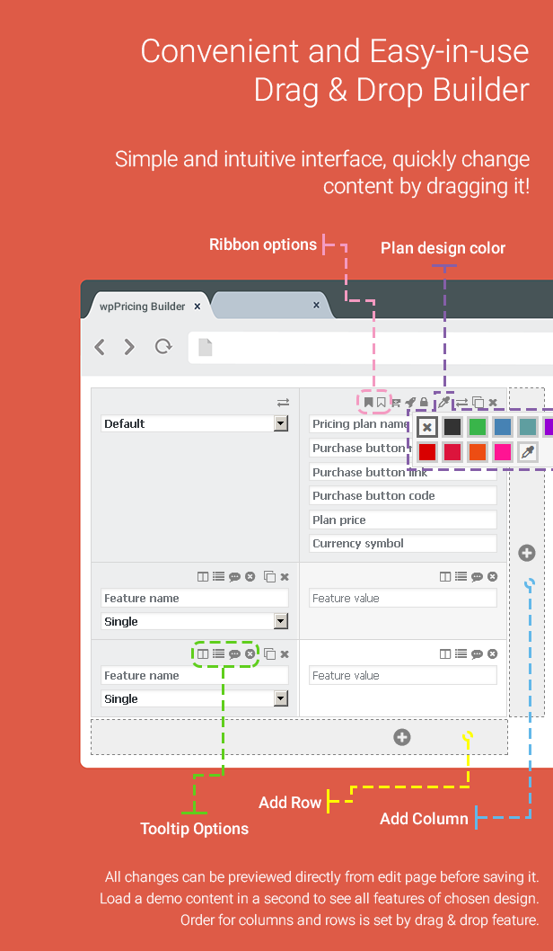 pricing table builder features