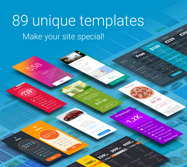 83 unique templates of pricing tables