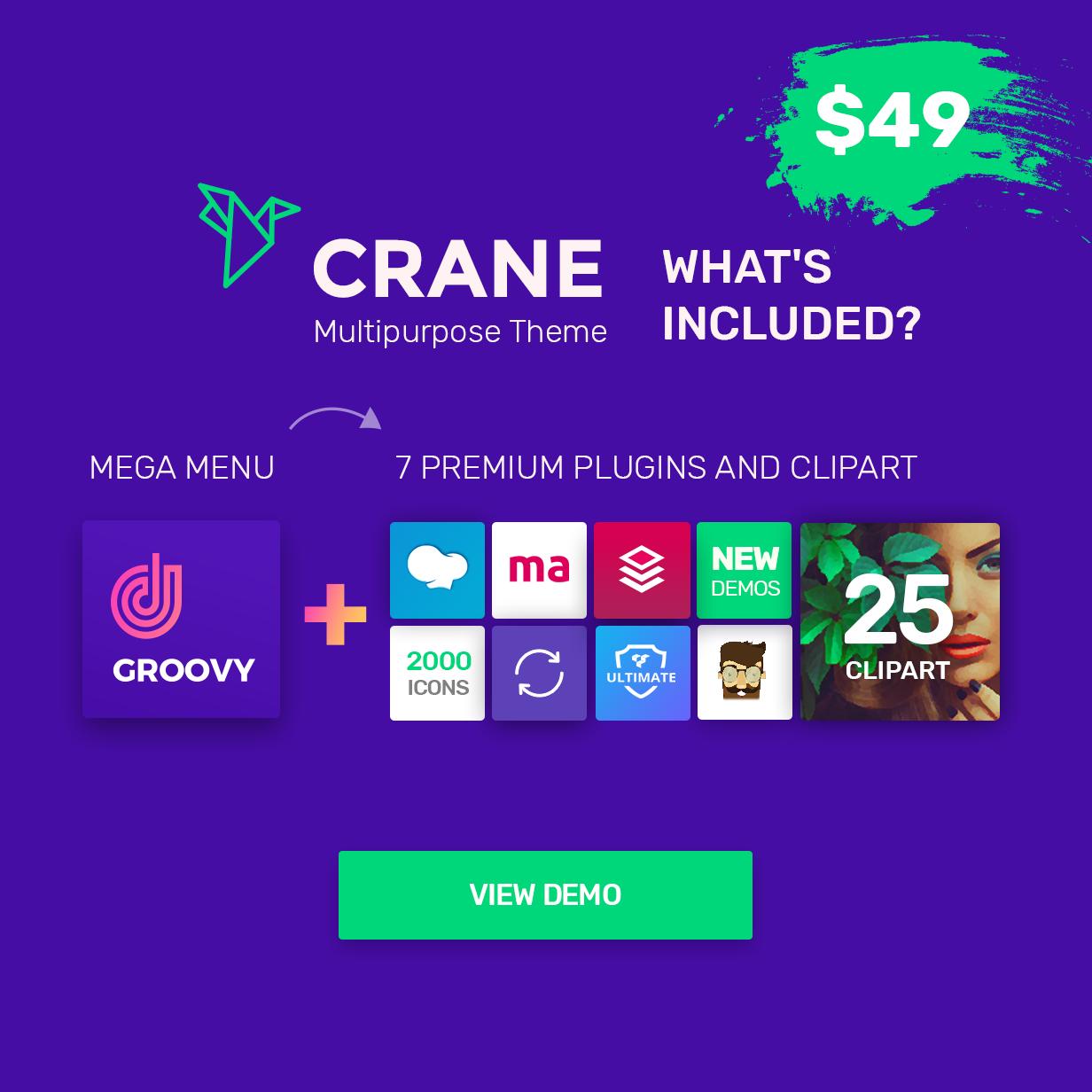 Get Crane Busininess WordPress theme with mega menu