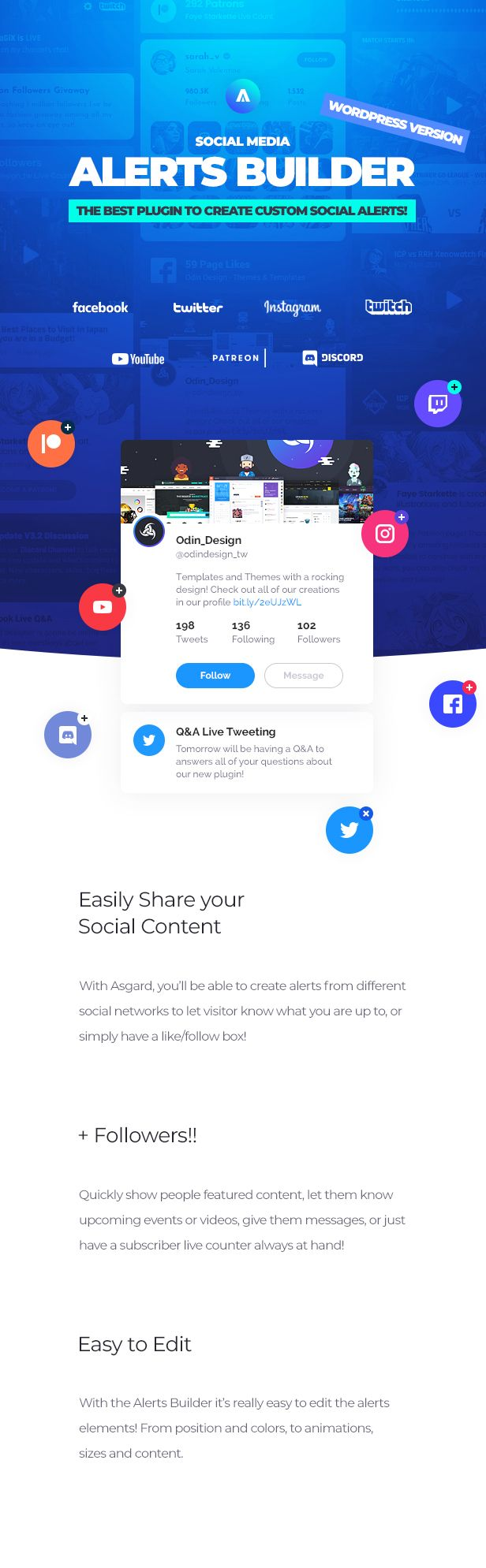 Asgard - Social Media Alerts & Feeds WordPress Builder - Facebook, Instagram, Twitch and more! - 11