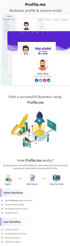 Profile.me - Saas Multiuser Profile Resume & Vcard Script - 2