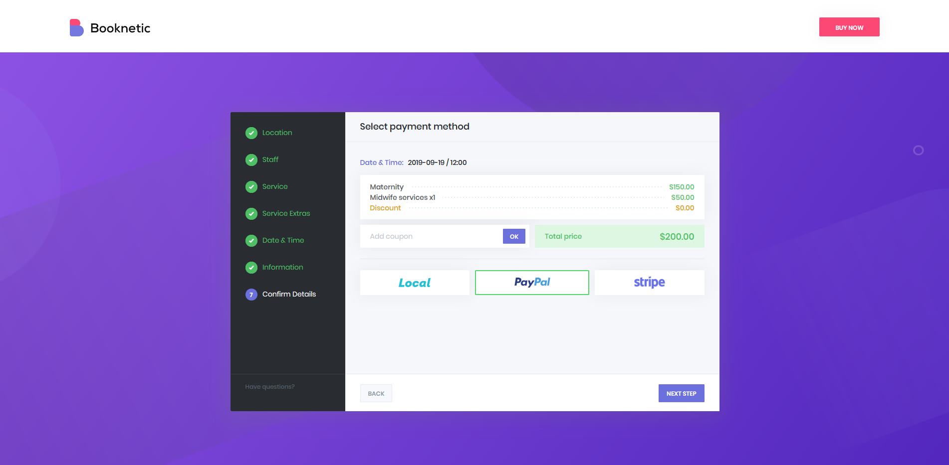 Booknetic - PayPal, Stripe, Local payment methods