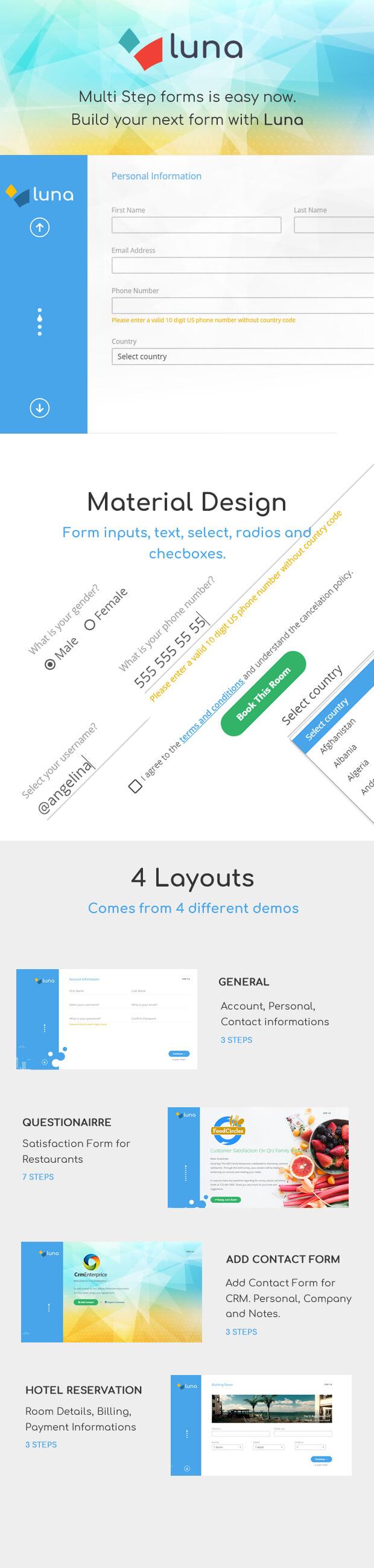 Luna Multi Step Form. E-commerce, Questionnaire, Reservation, Service - 1