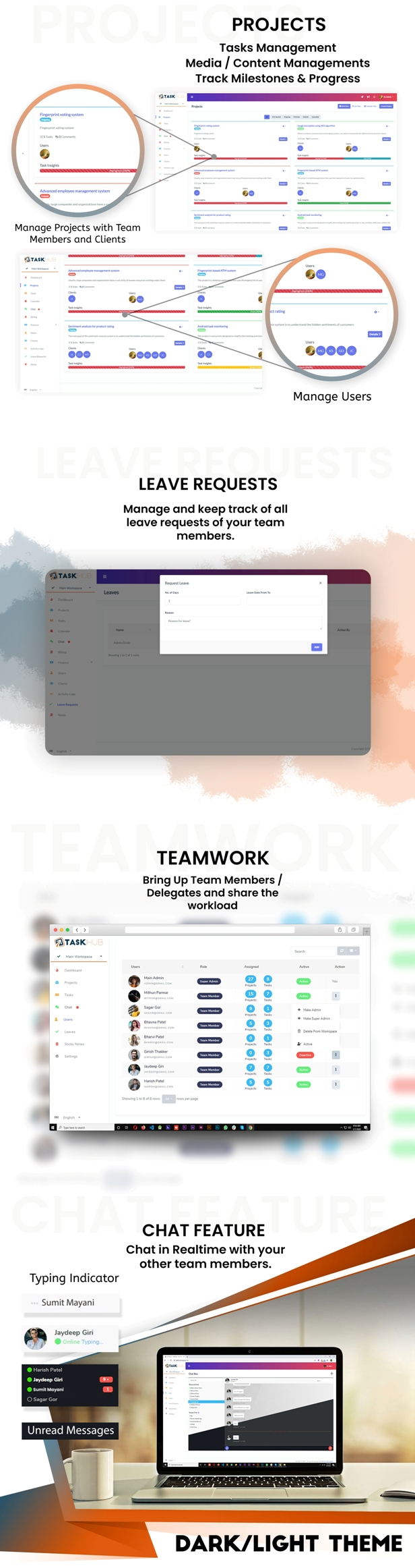 4 - projects-leave-requests-teamwork-chat - Taskhub SaaS - v1.0