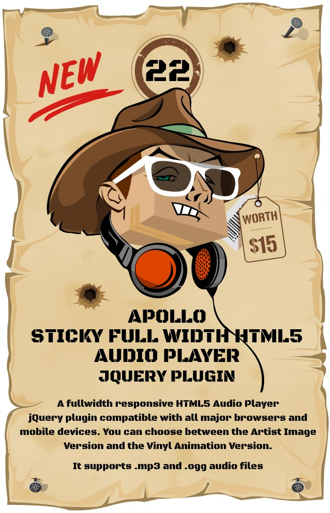 Apollo - Sticky Full Width HTML5 Audio Player - Responsive Plugin