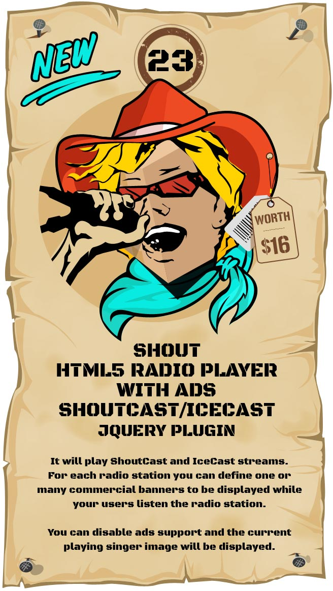 SHOUT - HTML5 Radio Player With Ads - ShoutCast and IceCast Support - Responsive Plugin