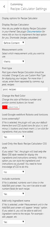 Customizing Recipe Claculator