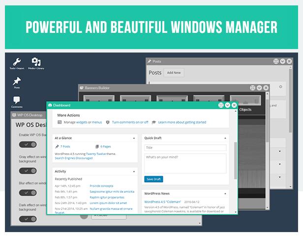 WP OS Desktop Backend - More than a WordPress Admin Theme - 1
