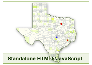 Interactive Map of Texas - HTML5/JavaScript