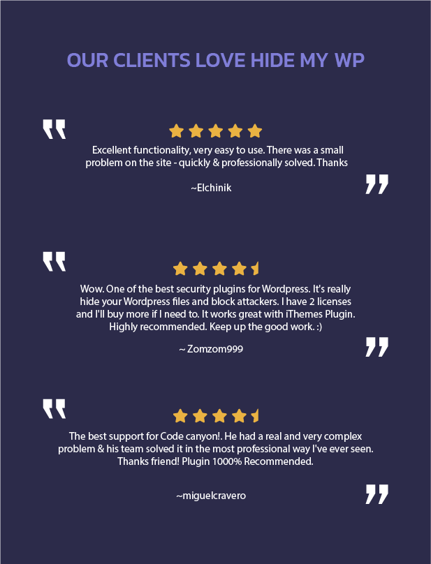 reviews from client for hide my wordpress plugin