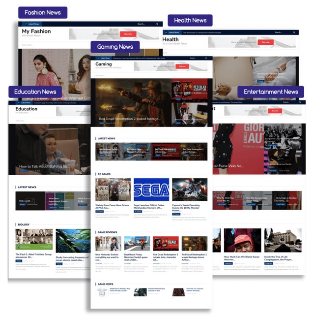 example passive income, self-updating news sites