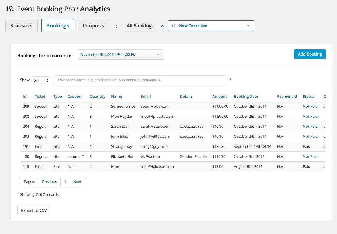 Event Booking Pro: Analytics & Checkin Addon - 3