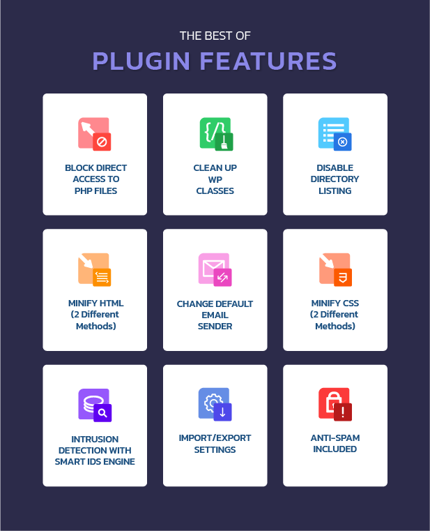 features of the hide my wp