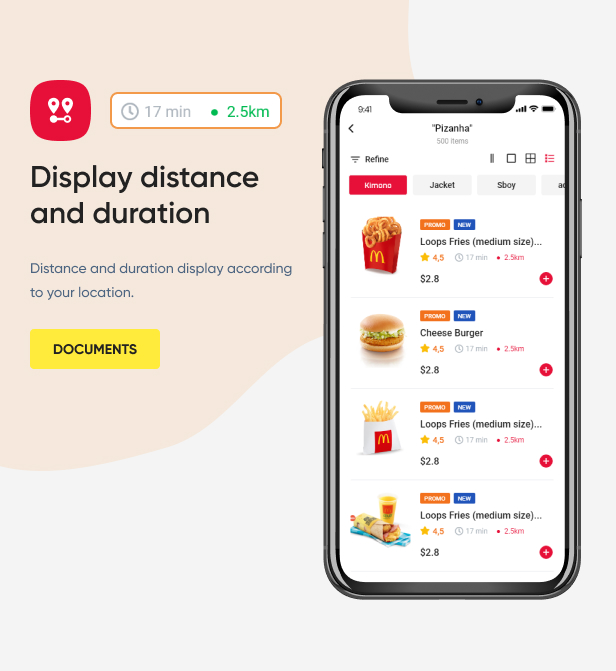 Display distance and duration