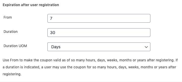 Coupon expiration after user registration