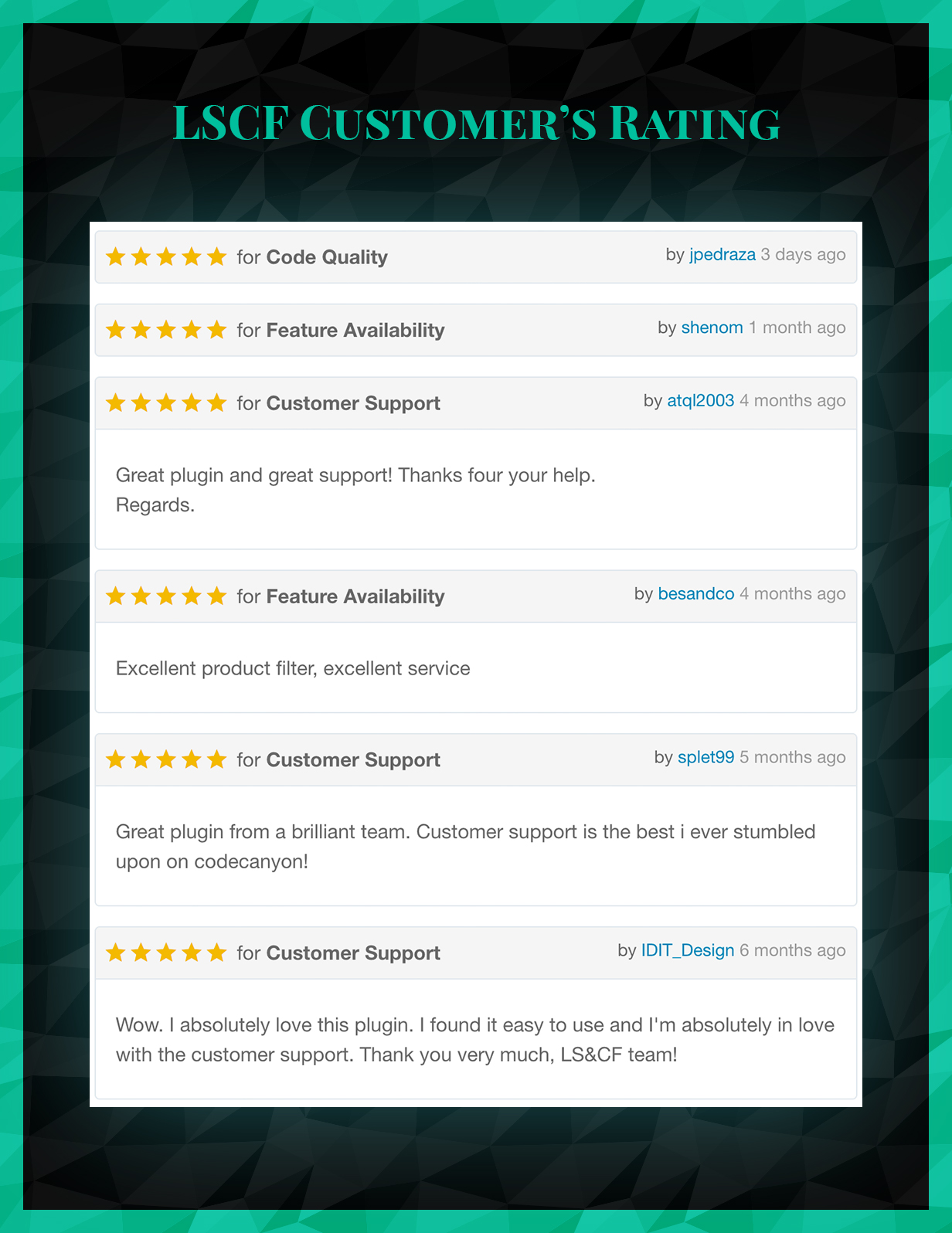 Live Search and Custom Fields - Customers Rating