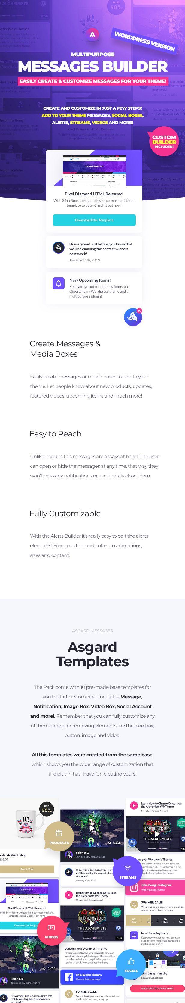 Asgard - Multipurpose Messages and Social Builder Plugin - 9