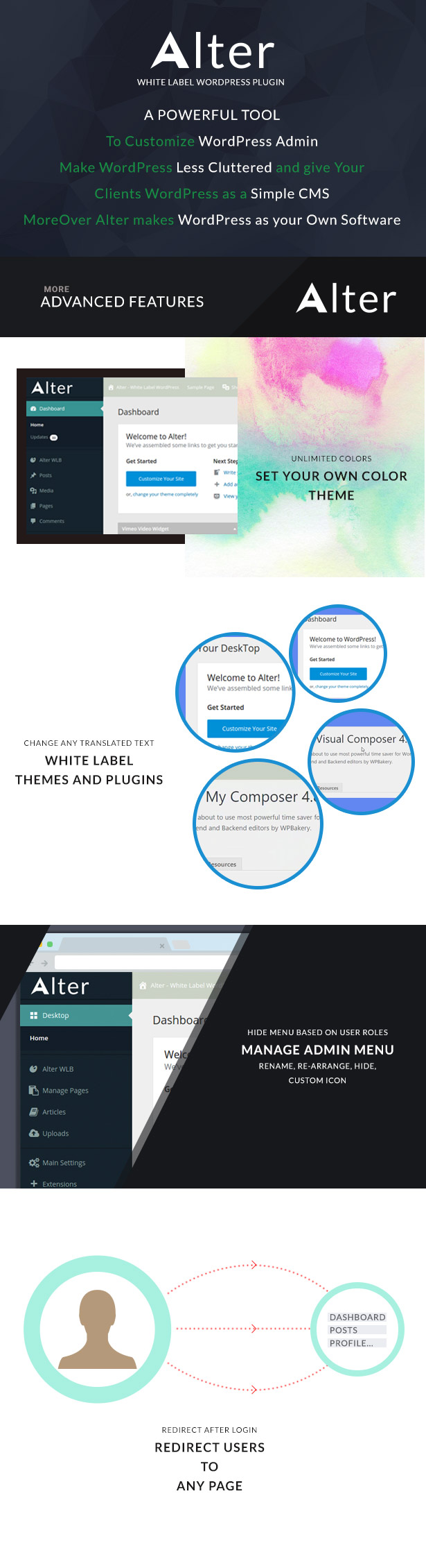 Alter White Label WordPress Plugin features