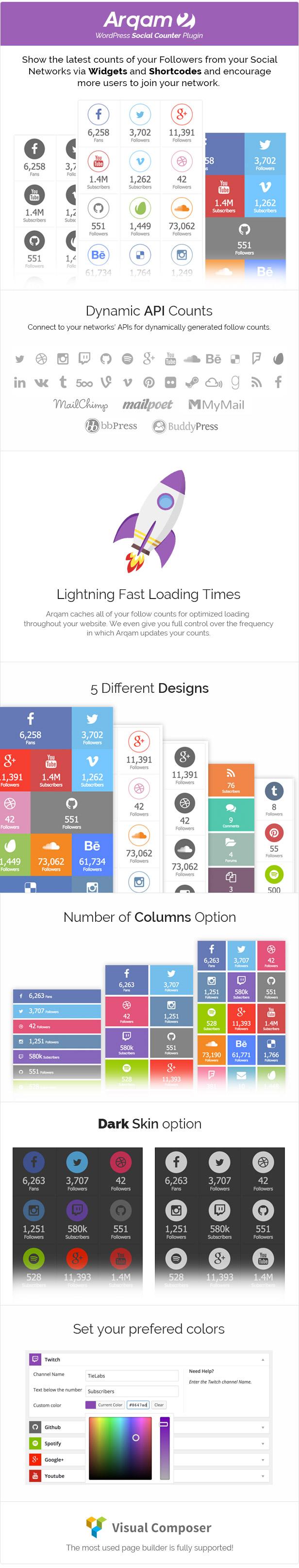 Social Counter Plugin for WordPress - Arqam - 2