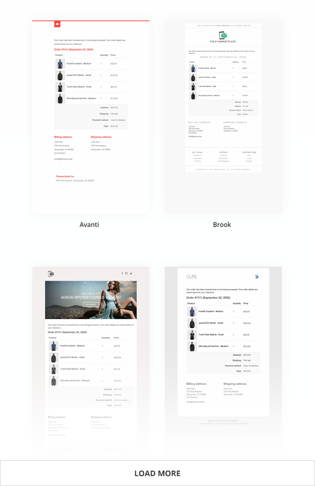 WooCommerce Email Templates - Available Styles