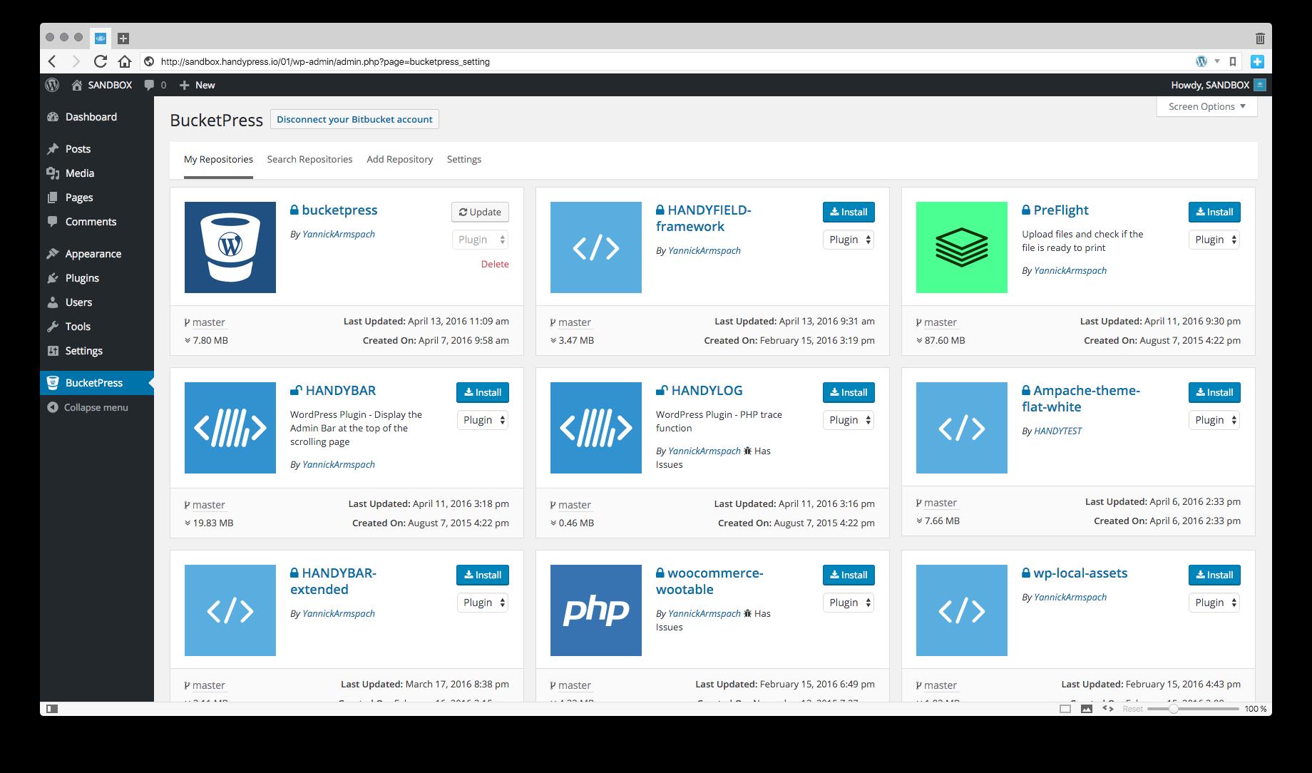 BucketPress - Plugins & Themes Installer from BitBucket - 1