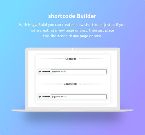 HayyaBuild - build wordpress shortcode