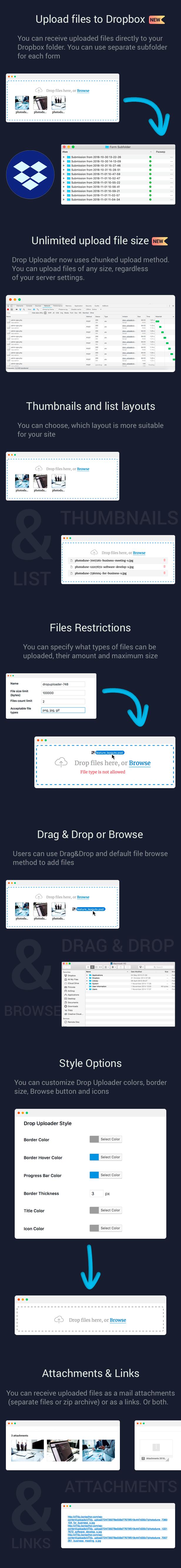 CF7 Drop Uploader Features