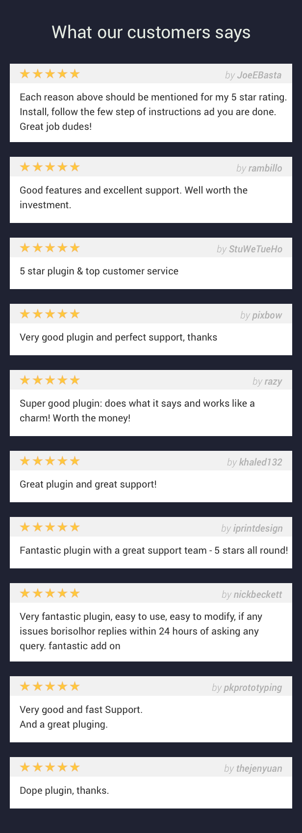 What our customers says