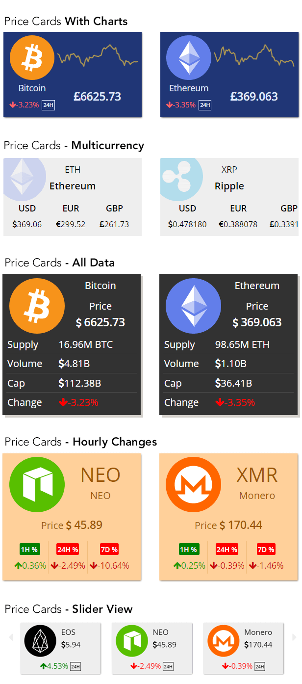 crypto price card widgets