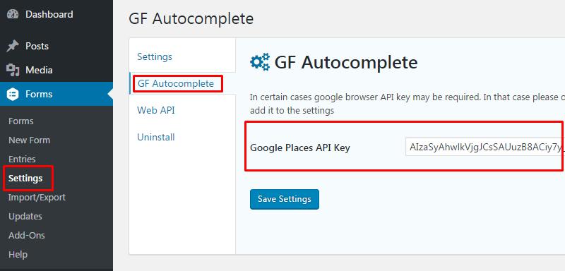 Setting up google browser API key