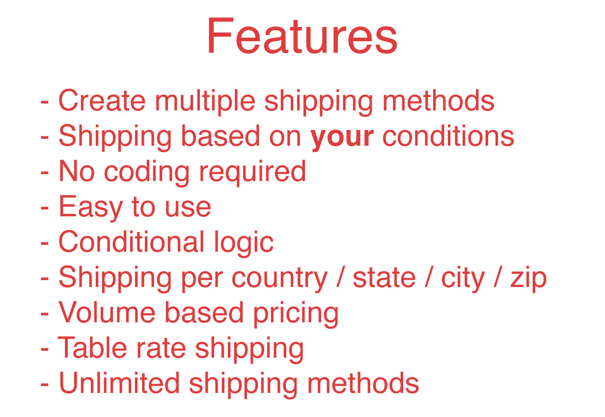 WooCommerce Advanced Shipping features