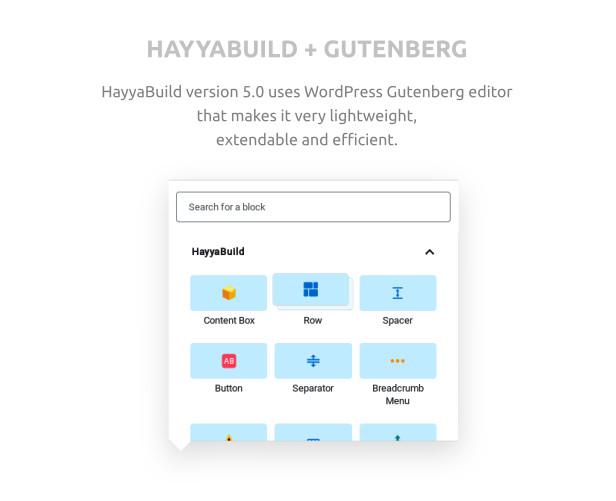 HayyaBuild gutenberg blocks