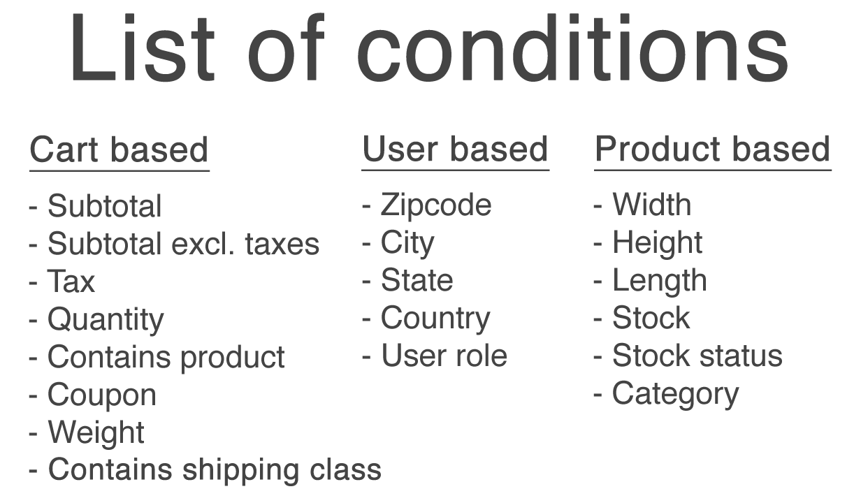 WooCommerce Advanced Shipping conditions