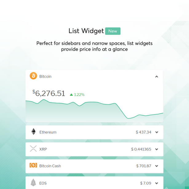 cryptocurrency list widget