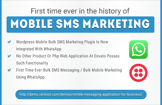 Wordpress mobile sms marketing is been integrated with what's app api - Upto 50% Off For A Limited Time Only - By Promotion King A web design development company and a top notch effective solutions provider company