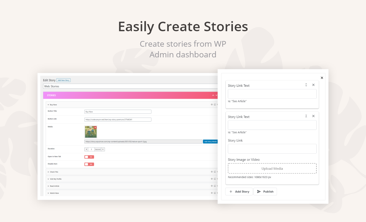 WP Story | Create Instagram Style Stories On WordPress | Create