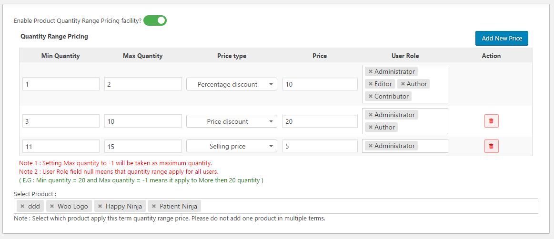 Woo Product Quantity Range Price - 6